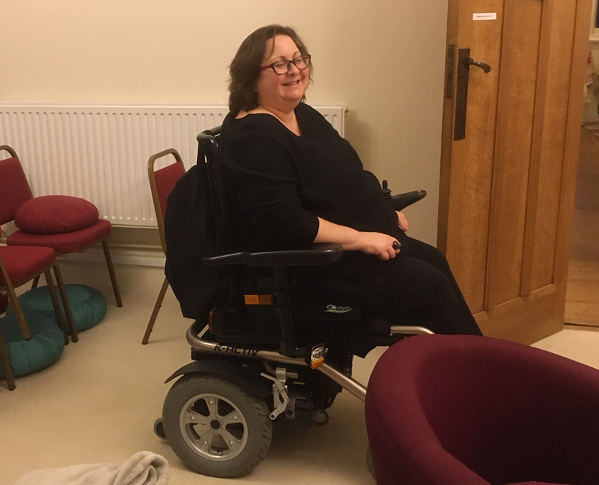 Sitting in your wheelchair in the meditation room
