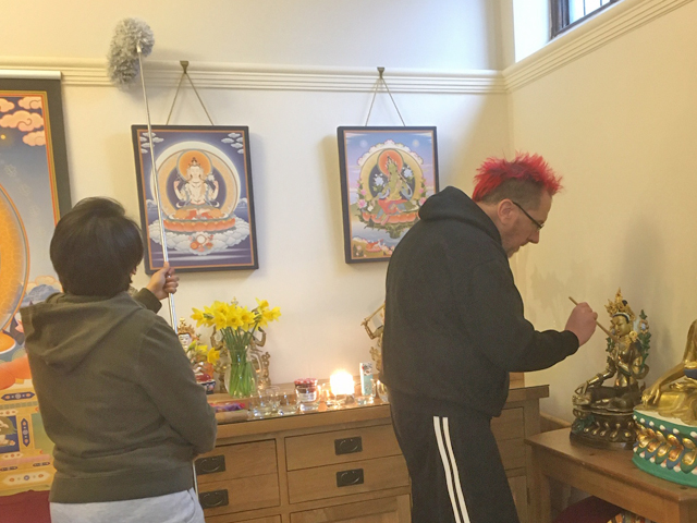 Cleaning the meditation room